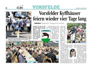 Vorsfelde-live in der WAZ vom 10.08.2015
