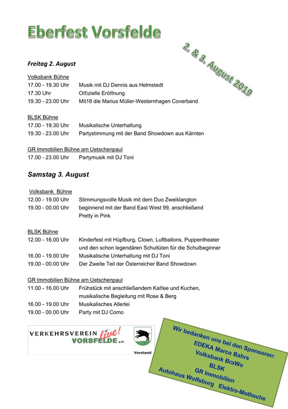 Programm Eberfest 2019